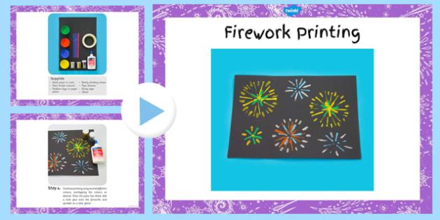 Firework Printing Craft Instructions PowerPoint - firework, printing, craft, instruction, powerpoint