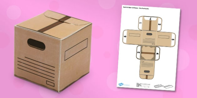 Real Life Object 3D Shapes Cube Packing Box Paper Model - craft, shapes, 3d