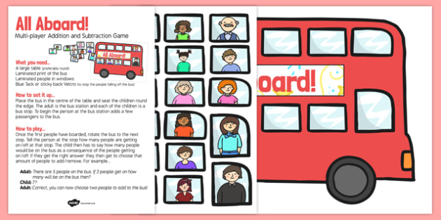 Multiplayer Bus Addition and Subtraction Activity to Ten - add
