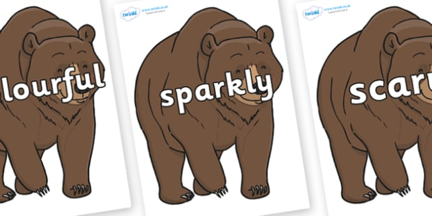 Wow Words on Bear - Wow words, adjectives, VCOP, describing, Wow, display, poster, wow display, tasty, scary, ugly, beautiful, colourful sharp, bouncy