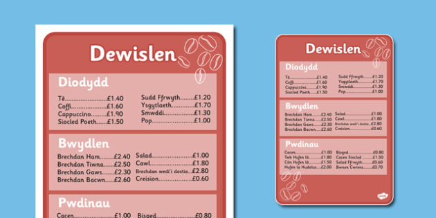Cafe Menus Welsh Translation Full Version - roleplay, wales