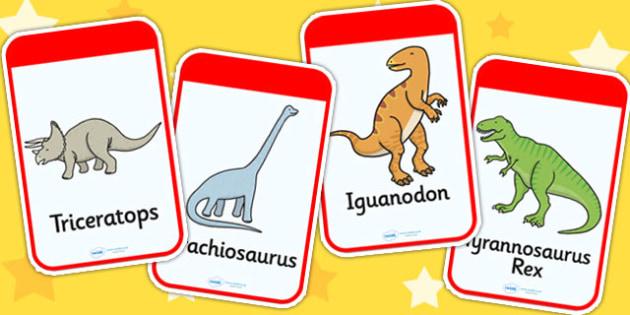 Dinosaur Flashcards - dinosaurs, flash card, visual aid, history