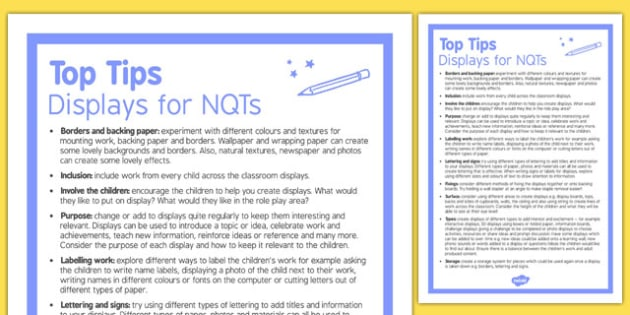 Top Ten Tips for Displays for NQTs - top ten tips, displays, nqts