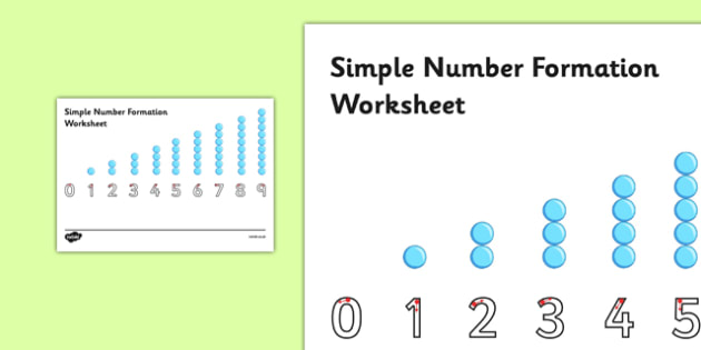 Simple Number Formation Worksheet - Number formation, tracing numbers, tracing sheet, 0-9 tracing, 0-9, number writing practice, foundation stage numeracy, writing, learning to write