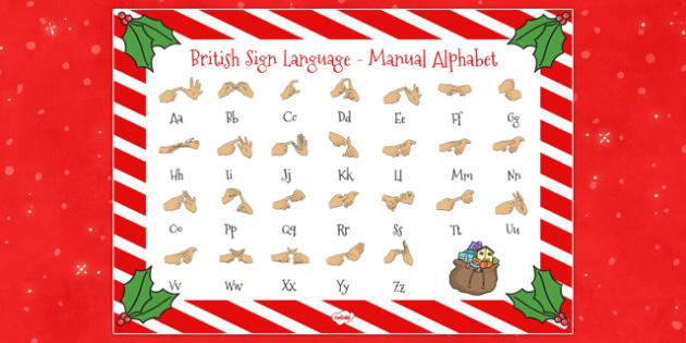 Christmas Themed British Sign Language Alphabet Mats - christmas