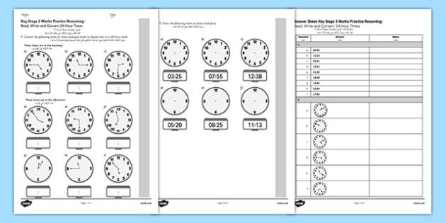 KS2 Reasoning Test Practice Read, Write and Convert 24 Hour Times Arabic Translation - arabic, eal, reason, key stage 2, ks 2, clock, time, minutes, hours, measure, maths, mathematics, telling, 24