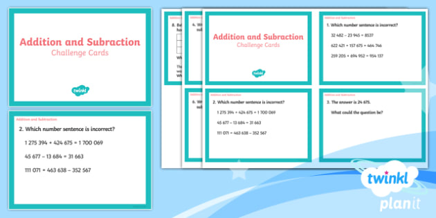 PlanIt Y5 Addition and Subtraction Challenge Cards - maths challenge, problem solving, fast finisher, maths puzzles