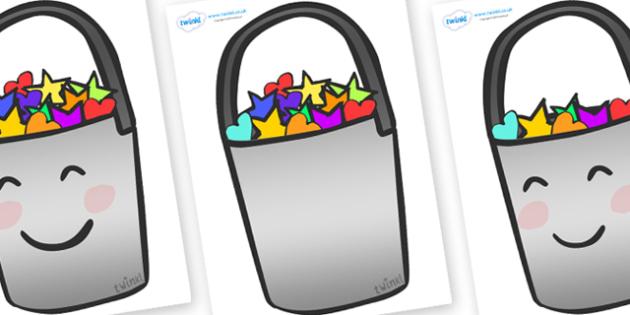 Editable Buckets (A4) - bucket, buckets, editable, activity, container, pail, bin, A4