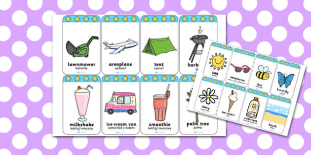 Summer Flashcards Polish Translation - polish, summer, flashcards