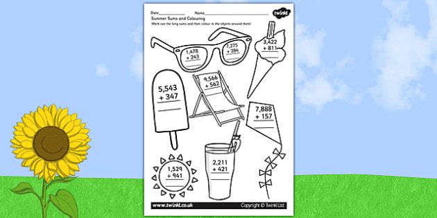 Summer Themed 4 Digit Addition Worksheet - add, adding, maths