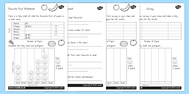 Favourite Fruit Tally and Pictogram Worksheets - australia, fruit