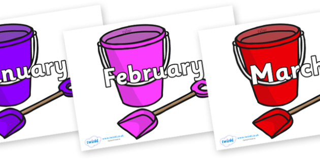 Months of the Year on Spade and Buckets - Months of the Year, Months poster, Months display, display, poster, frieze, Months, month, January, February, March, April, May, June, July, August, September