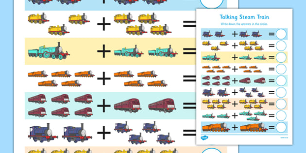 Talking Steam Train Themed Up to 10 Addition Sheet - thomas the tank engine, talking steam train, addition, 10