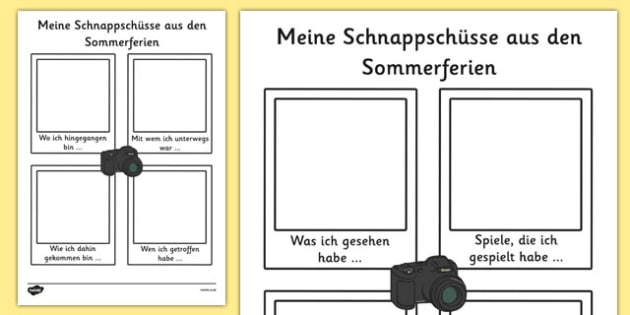 Meine Schnappschüsse aus den Sommerferien - german, my holiday, snapshot, writing frame, writing, frame, holiday