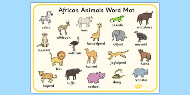 Afrikaans African Animals Word Mat - afrikaans, animals, word mat