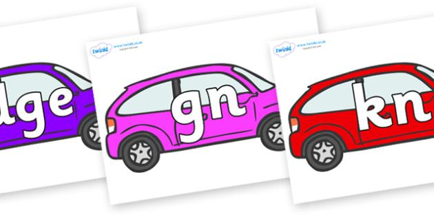 Silent Letters on Cars - Silent Letters, silent letter, letter blend, consonant, consonants, digraph, trigraph, A-Z letters, literacy, alphabet, letters, alternative sounds