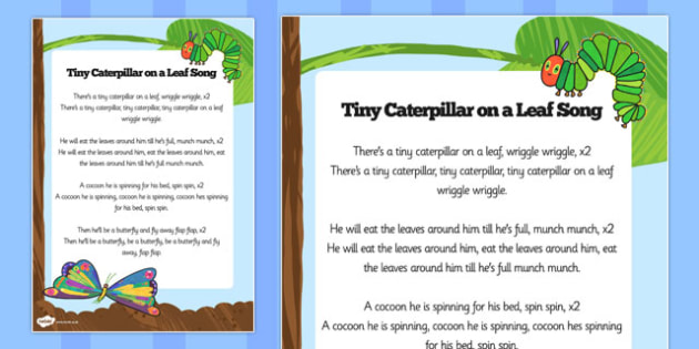 Song Sheet to Support Teaching on The Very Hungry Caterpillar - the very hungry caterpillar, song words, the very hungry caterpillar lyrics, the very hungry caterpillar song