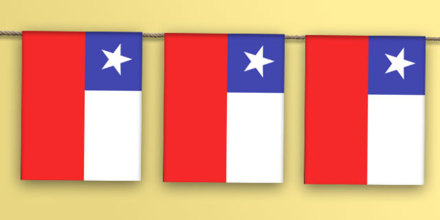 Chile A4 Flag Bunting - countries, geography, flags, country