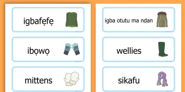 Winter Clothes Word Cards - winter clothes, word cards, winter, clothes - Yoruba