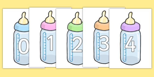 Numbers 0-20 on Baby Bottles - numbers, 0-20, baby bottles, baby, bottle