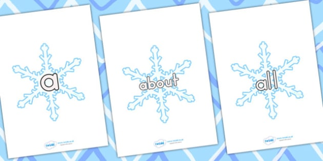 Australia 100 High Frequency Words on Snowflakes - high frequency, christmas