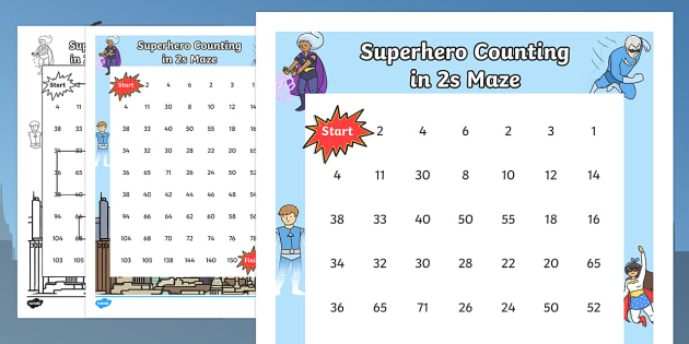 Superhero-Themed Counting in 2s Maze - superhero, counting, count, maze, 2