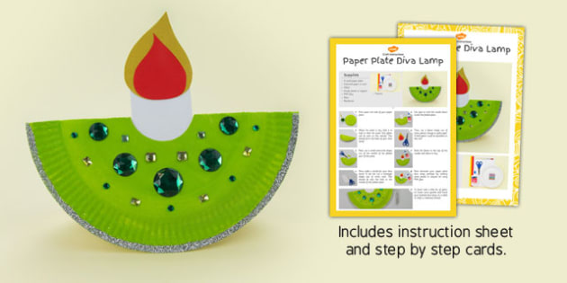 Paper Plate Diva Lamp Craft Instructions - paper plate, diva lamp, craft, instructions
