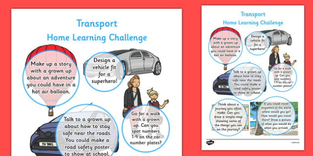 EYFS Transport Themed Home Learning Challenge Sheet Reception FS2