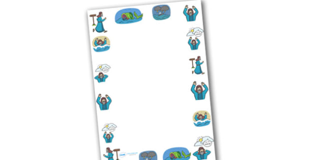 Jonah and the Big Fish Page Borders (A4) - Jonah, bible, big fish, God, Ninevah, fish, help, page border, border, writing template, writing aid, writing, biblical story, biblical stories, eaten by a fish, listen to god