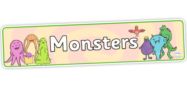 Monsters Display Banner - monsters, display, banner, themed banner, themed header, header, display banner, display header, moster banner, decoration