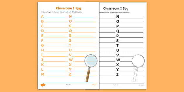 Classroom I Spy - canada, I spy, first day, first day of school, alphabet, game, activity, nouns, objects