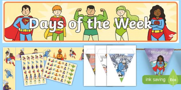Superhero Themed Days of the Week Display Pack - superheroes, days of the week, display, pack