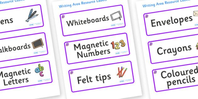 Amethyst Themed Editable Writing Area Resource Labels - Themed writing resource labels, literacy area labels, writing area resources, Label template, Resource Label, Name Labels, Editable Labels, Drawer Labels, KS1 Labels, Foundation Labels, Foundati
