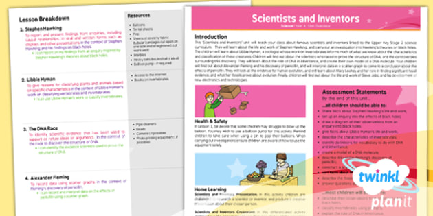 PlanIt - Science Year 6 - Scientists and Inventors Unit Planning Overview - planit, science, year 6, scientists and inventors, planning overview