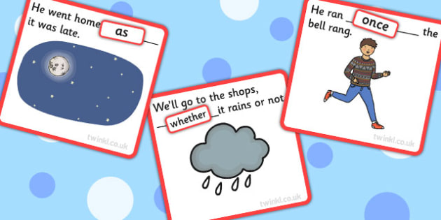 Finish The Sentence Cards Conjunction Whether Once As - SEN