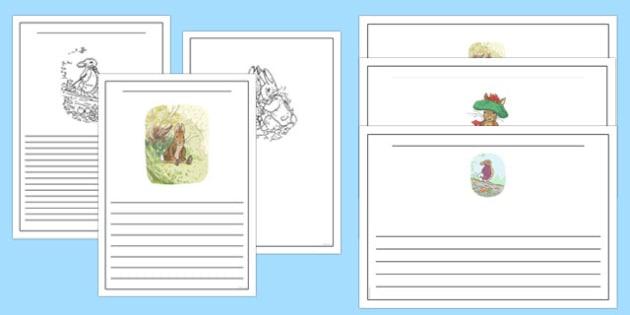 Beatrix Potter - The Tale of Benjamin Bunny Writing Frames - beatrix potter, benjamin bunny