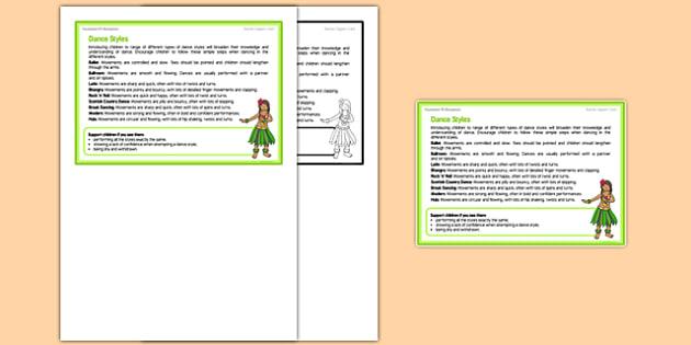 Dance Styles Teacher Support Card -EYFS, PE, Physical Development, Planning