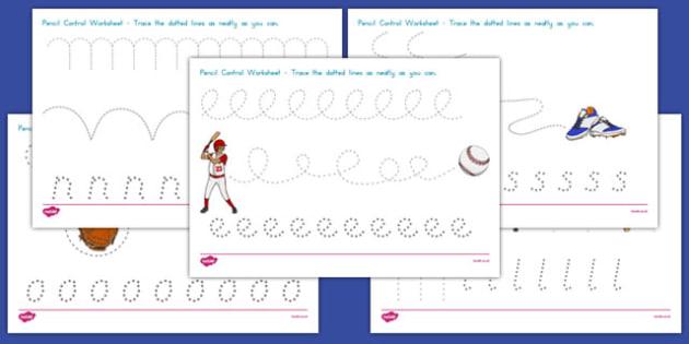 Baseball Themed Pencil Control Worksheets - usa, baseball, mlb, major league baseball, pencil control