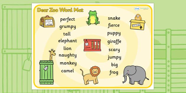 Word Mat to Support Teaching on Dear Zoo - dear zoo, word mat, keywords, key word mat