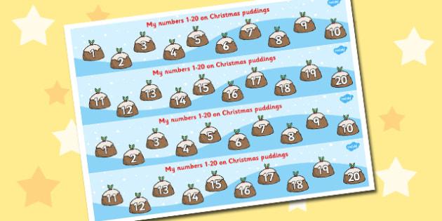 1-20 Christmas Puddings - 1-20, christmas, puddings, counting