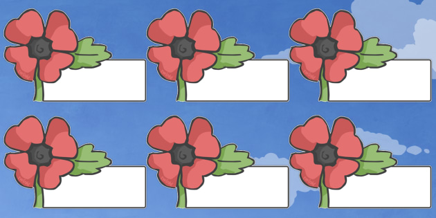Editable Self Registration Labels (Poppy) - Poppies, Self registration, register, poppy, poppies, editable, labels, registration, child name label, printable labels, Remembrance Day, war, battle, world war, poppy, cross, army, fight, 11 November, Rem
