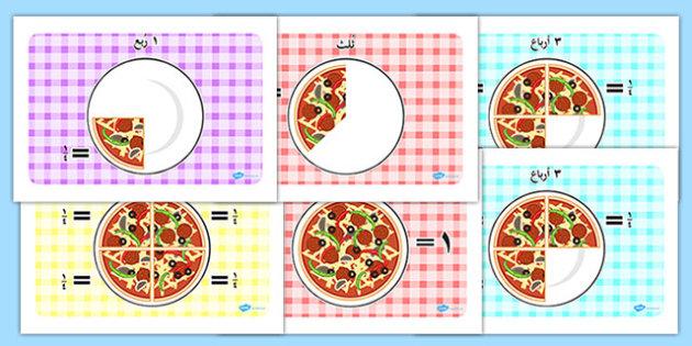 كسور البيتزا - الكسور، أوراق عمل، أنشطة، وسائل تعليمية، حساب