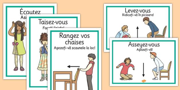 Instructiuni in sala de clasa, Plansa franceza-romana - reguli scoala grupa
