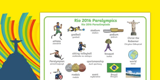 Rio Paralympics 2016 Word Mat Polish Translation - Paralympics, Rio 2016, Brazil, Key vocabulary, Literacy, English, key words, Spelling support, Disability Awareness, Sporting Events