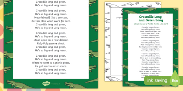 Crocodile Long and Green Song to Support Teaching on The Enormous Crocodile