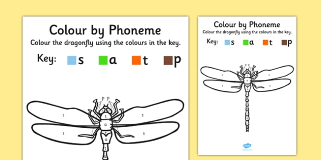 Colour by Phoneme Dragonfly Phase 2 s-a-t-p - colour, phoneme, dragonfly, phase 2, satpin