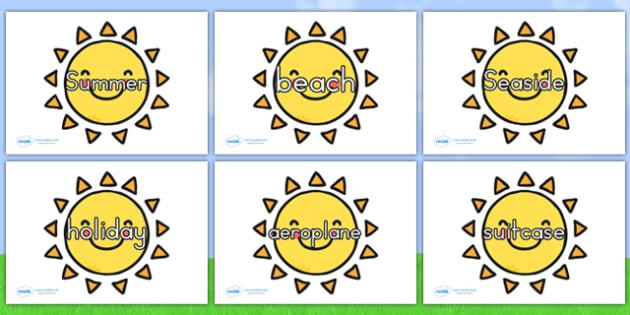 Summer Words On Suns - summer, keywords, sun, seasons, weather