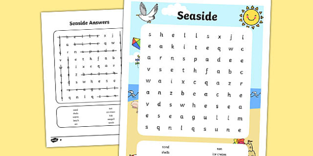 Seaside Wordsearch - seaside, at the seaside, beach, at the seaside wordsearch, seaside themed wordsearch, wordsearch, seaside literacy, seaside words