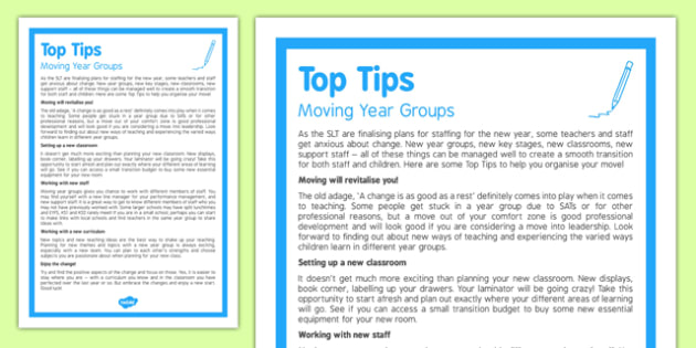 Moving Year Groups Top Tips
