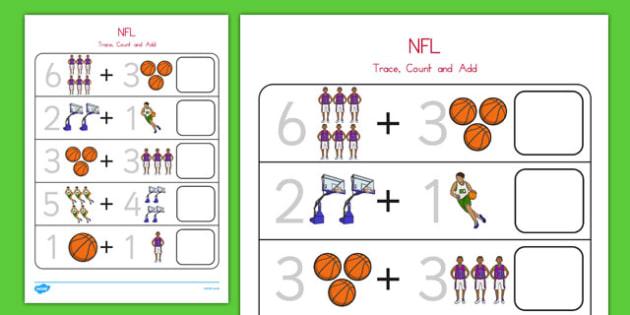 Basketball Themed Trace, Count and Add Worksheet - usa, nba, basketball, national basketball association, trace, count, add, worksheet